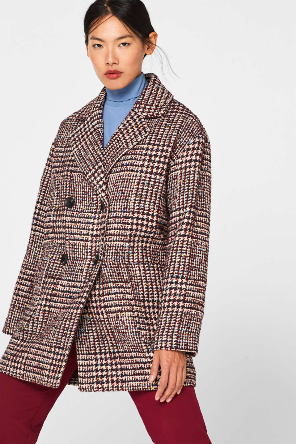 Esprit - Met wol: double-breasted tweed mantel