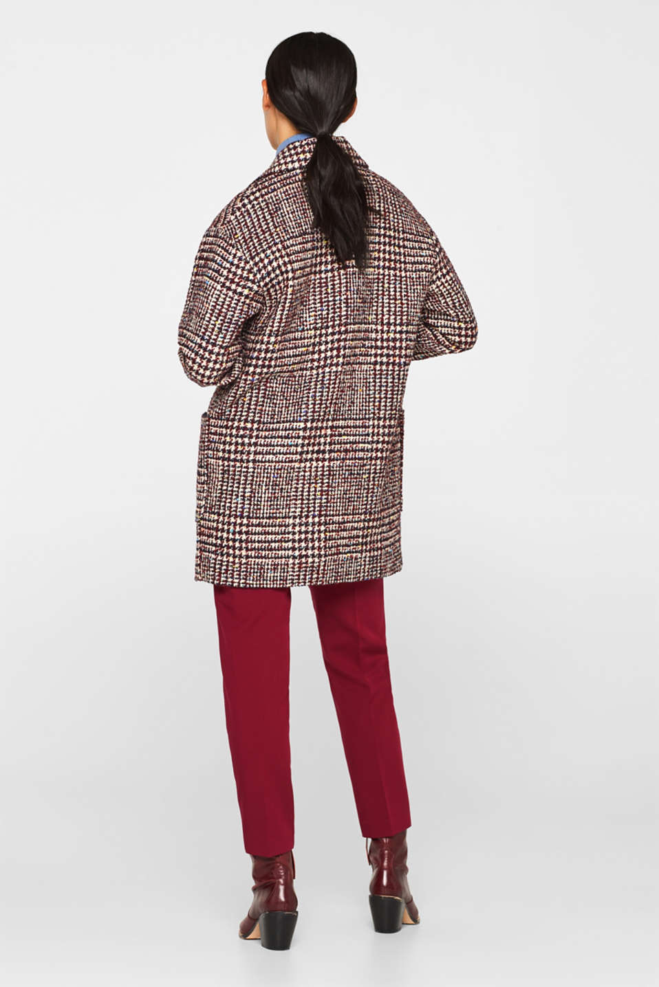 With wool: oversized check coat, BORDEAUX RED, detail image number 3