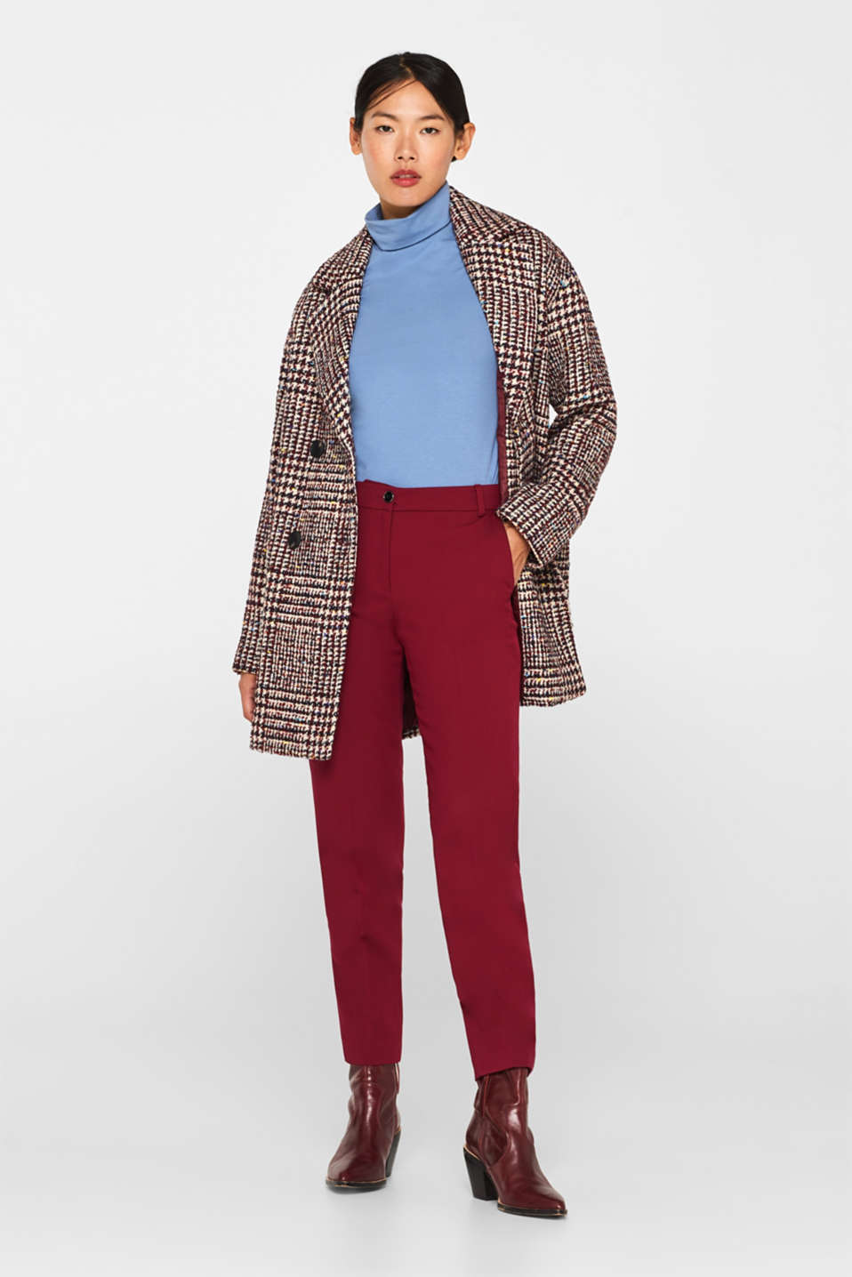 With wool: oversized check coat, BORDEAUX RED, detail image number 1