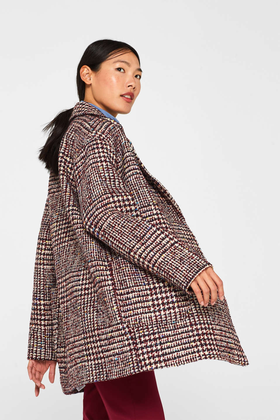 With wool: oversized check coat, BORDEAUX RED, detail image number 2