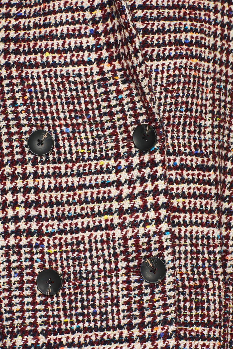 With wool: oversized check coat, BORDEAUX RED, detail image number 4