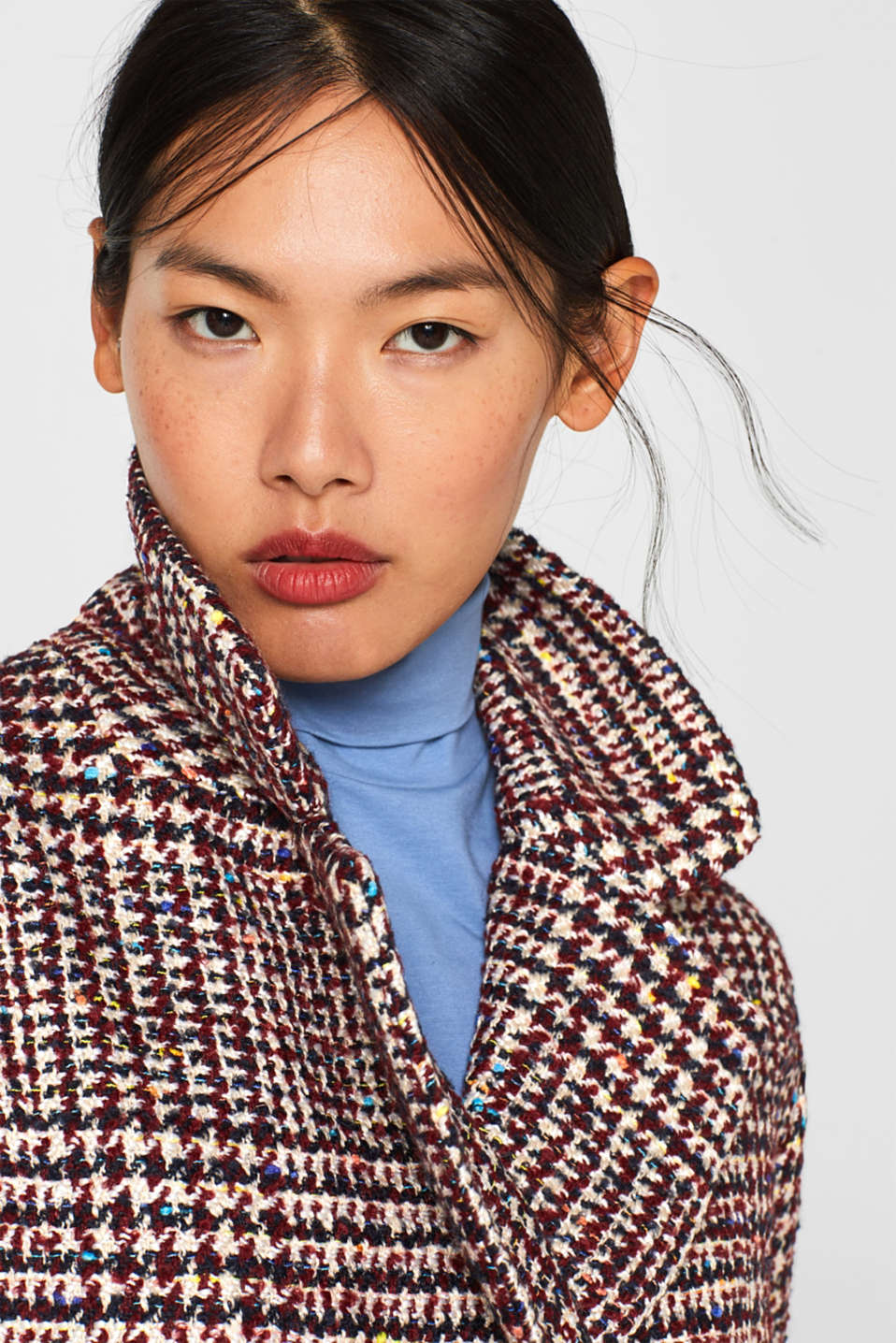 With wool: oversized check coat, BORDEAUX RED, detail image number 5
