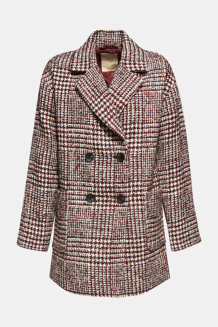 With wool: oversized check coat, BORDEAUX RED, detail image number 0