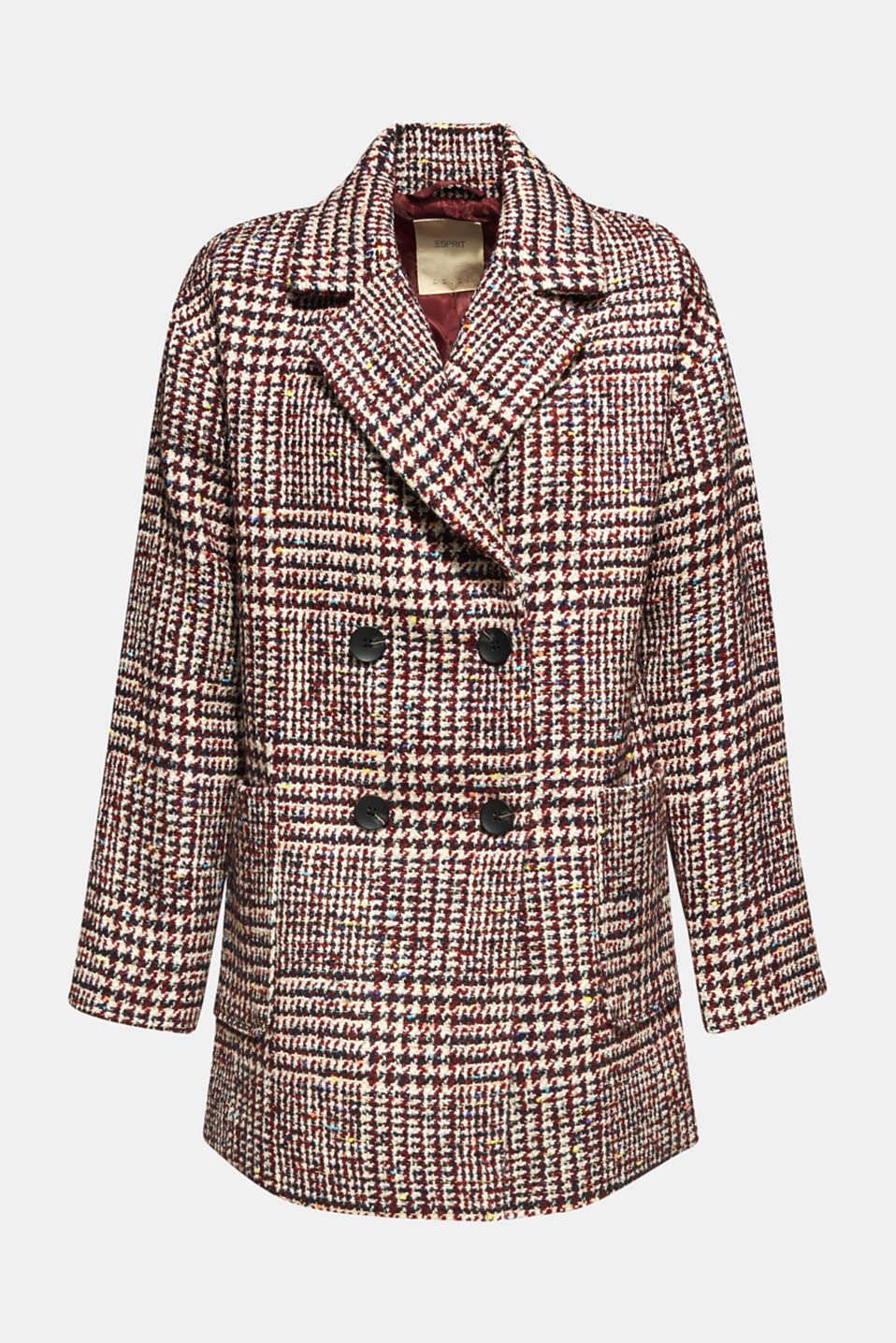 With wool: oversized check coat, BORDEAUX RED, detail image number 6