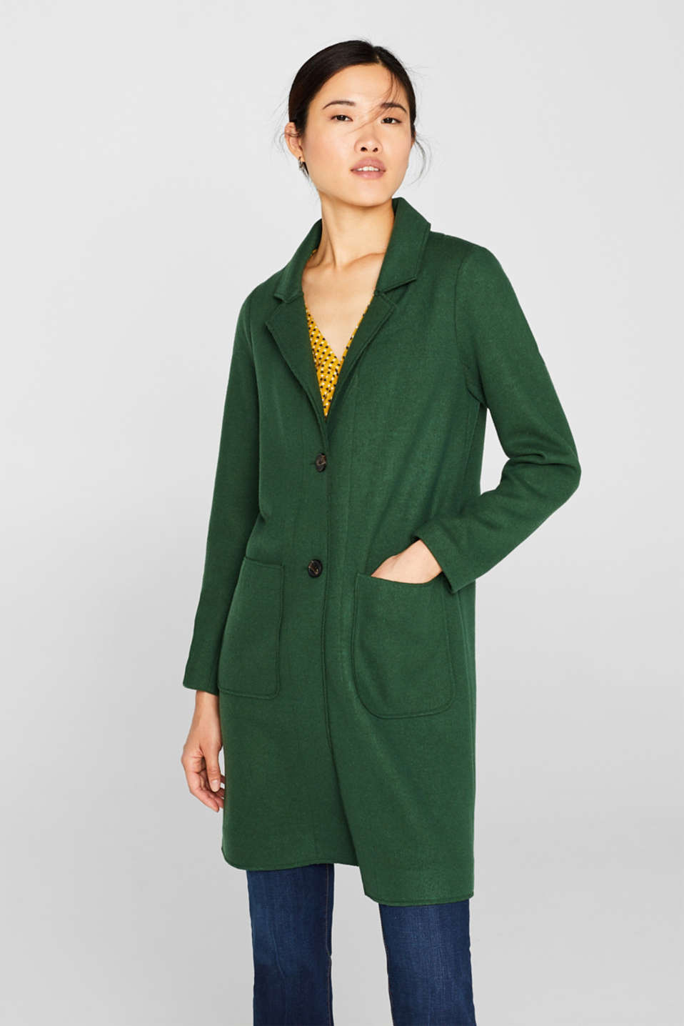 Unlined wool blend coat, BOTTLE GREEN, detail image number 0