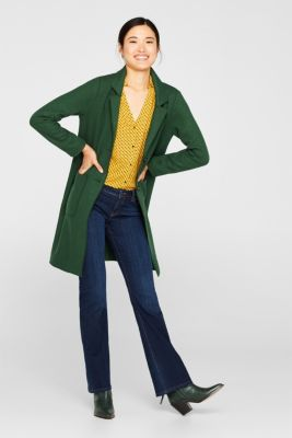 Unlined wool blend coat, BOTTLE GREEN, detail