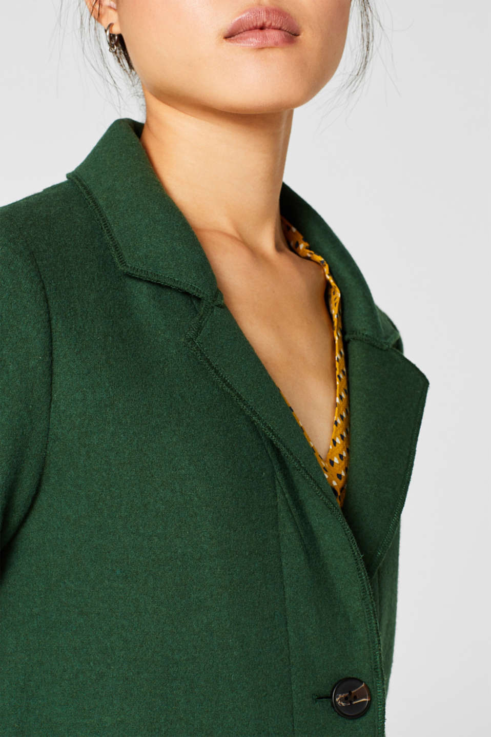 Unlined wool blend coat, BOTTLE GREEN, detail image number 2