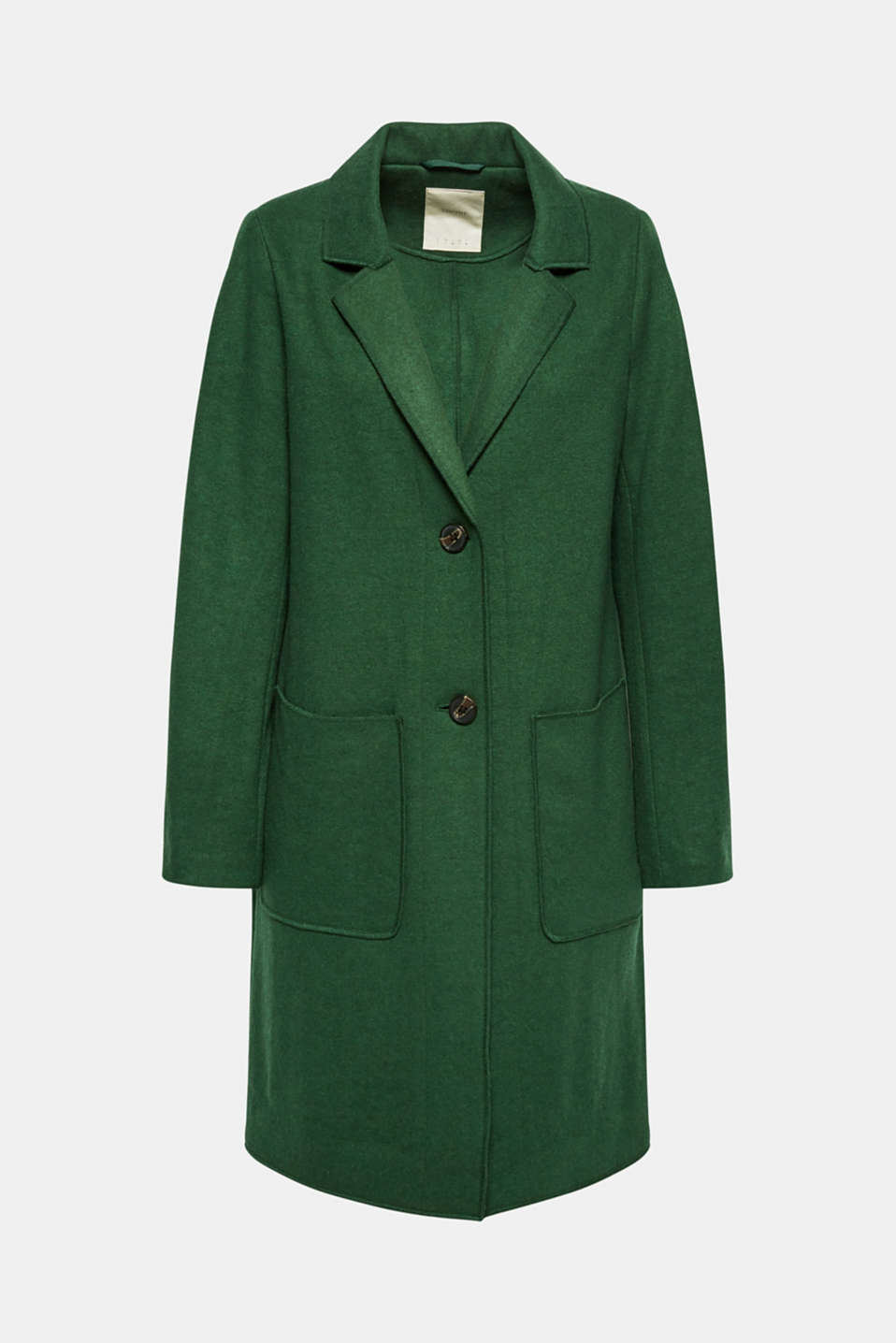 Unlined wool blend coat, BOTTLE GREEN, detail image number 7