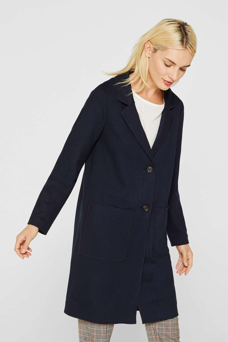 Unlined wool blend coat, NAVY, detail image number 0