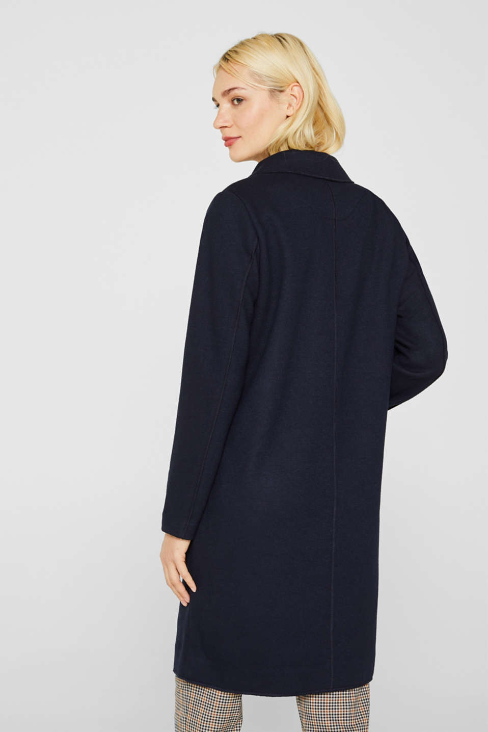 Unlined wool blend coat, NAVY, detail image number 3
