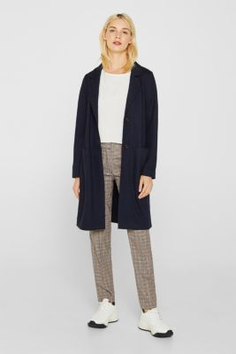 Unlined wool blend coat, NAVY, detail