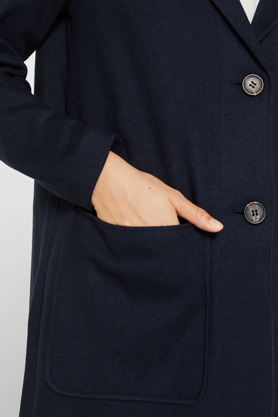 Unlined wool blend coat, NAVY, detail image number 2
