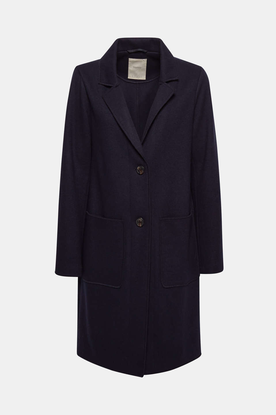 Unlined wool blend coat, NAVY, detail image number 6