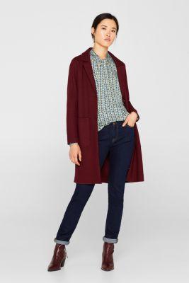 Unlined wool blend coat, GARNET RED, detail