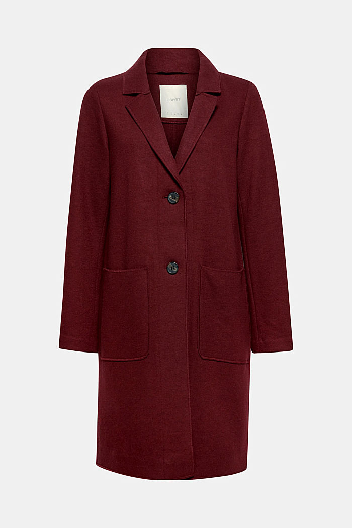 Ongevoerde mantel met wol, GARNET RED, detail image number 0