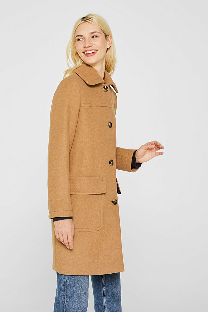 Wool blend: coat with a spade collar, CAMEL, detail image number 0