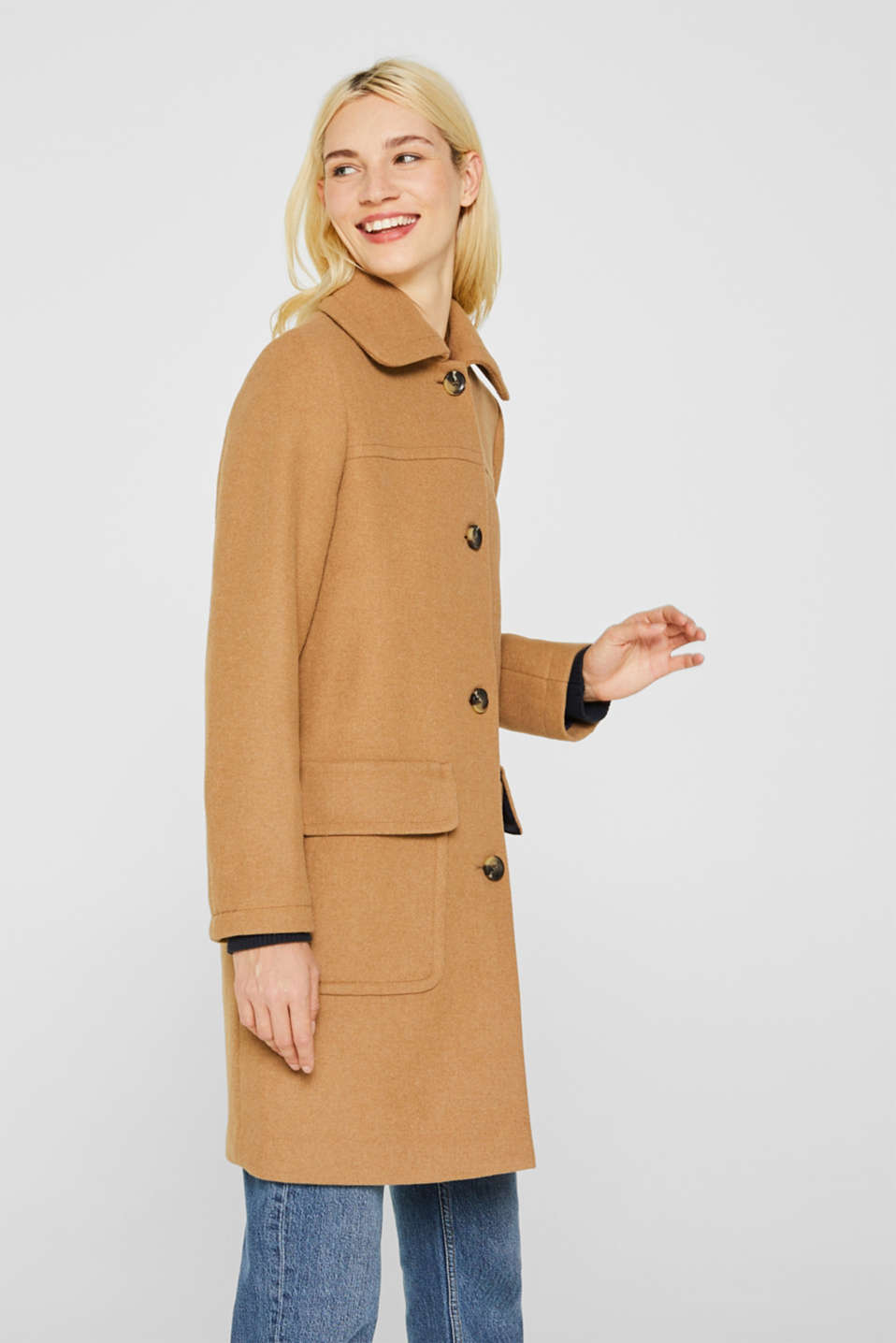 Esprit - Wool blend: coat with a spade collar