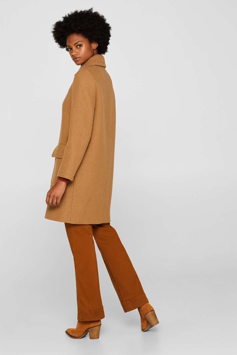 Wool blend: coat with a spade collar, CAMEL, detail image number 3