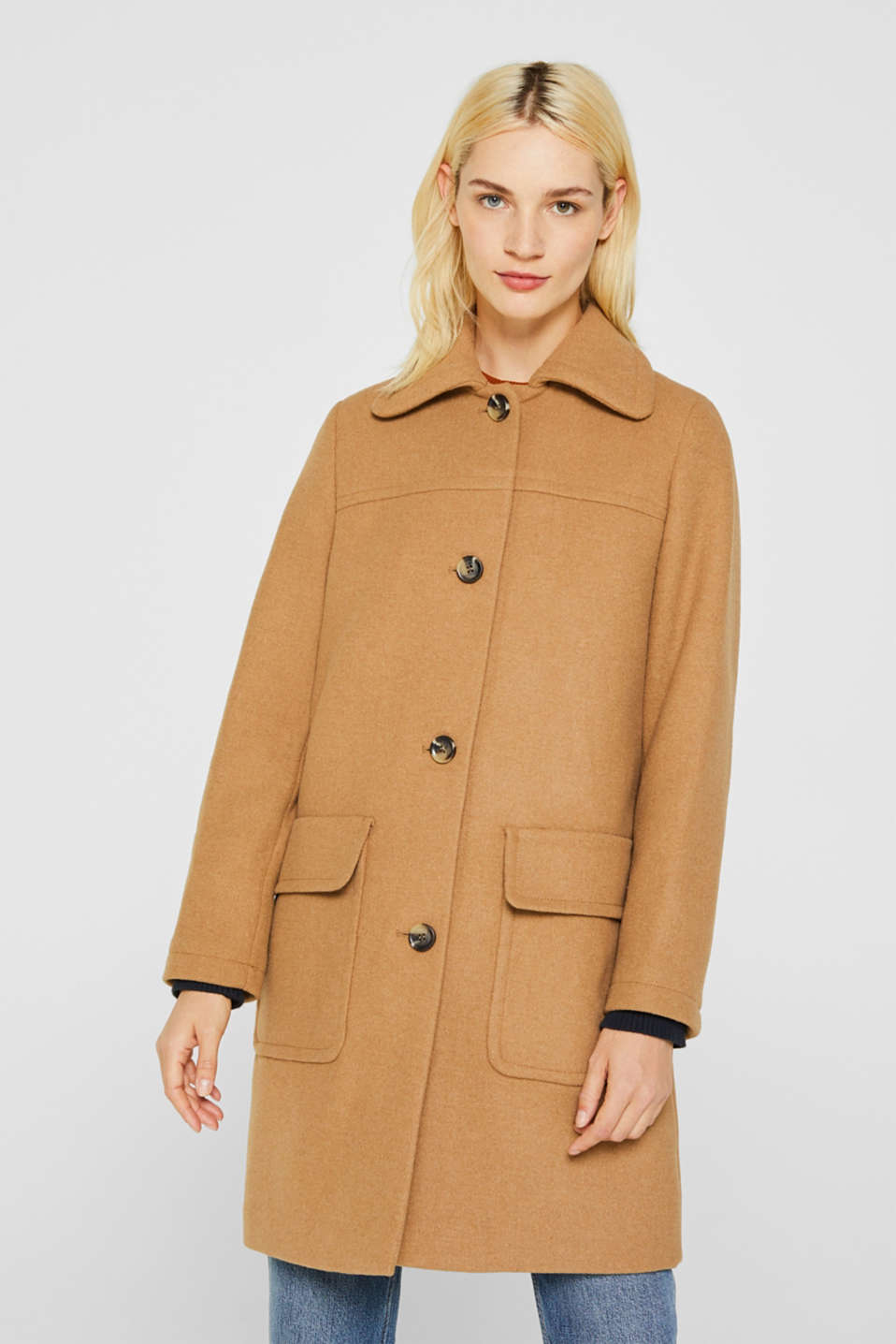 Wool blend: coat with a spade collar, CAMEL, detail image number 5