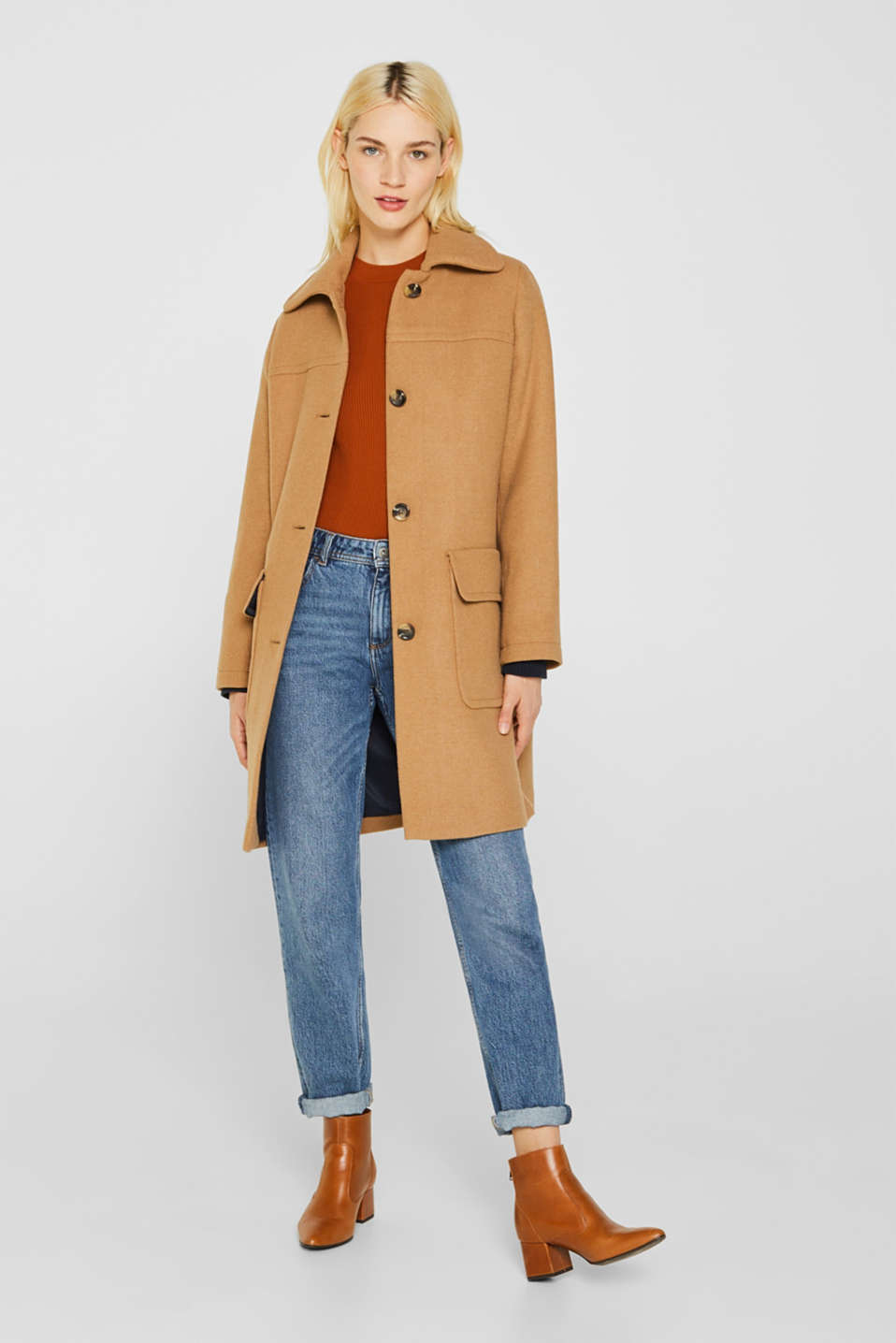 Wool blend: coat with a spade collar, CAMEL, detail image number 1
