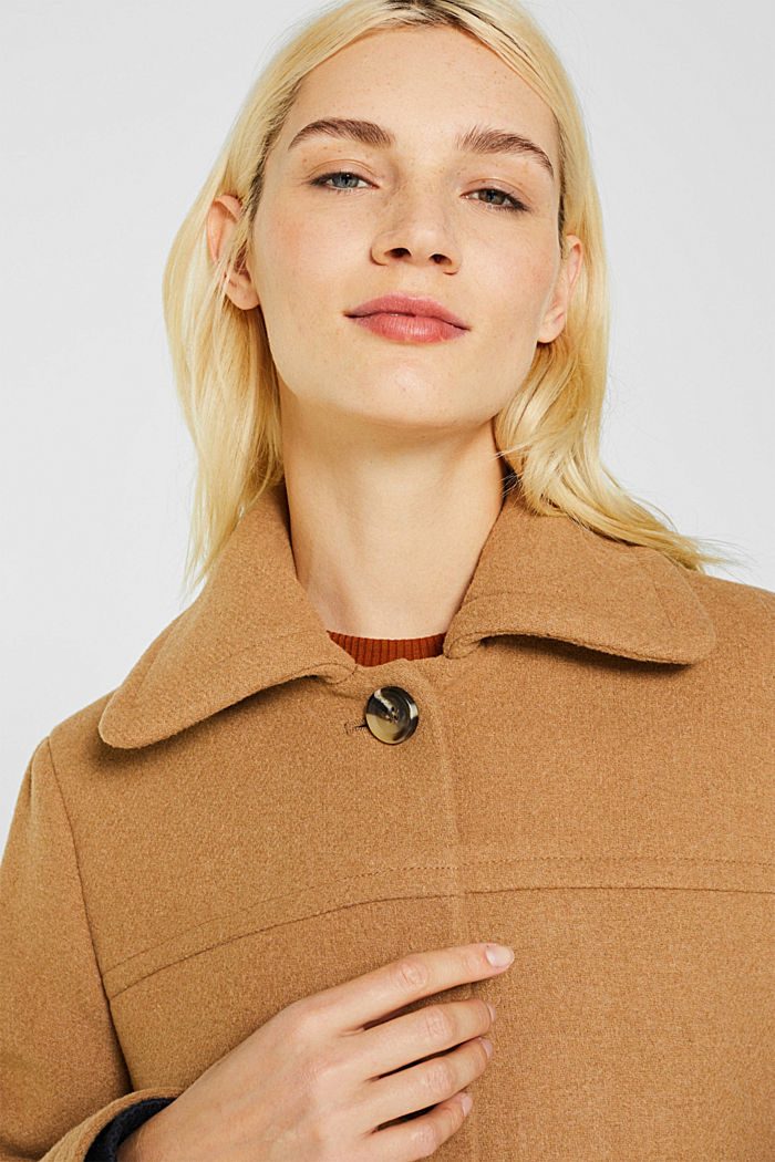 Wool blend: coat with a spade collar, CAMEL, detail image number 2