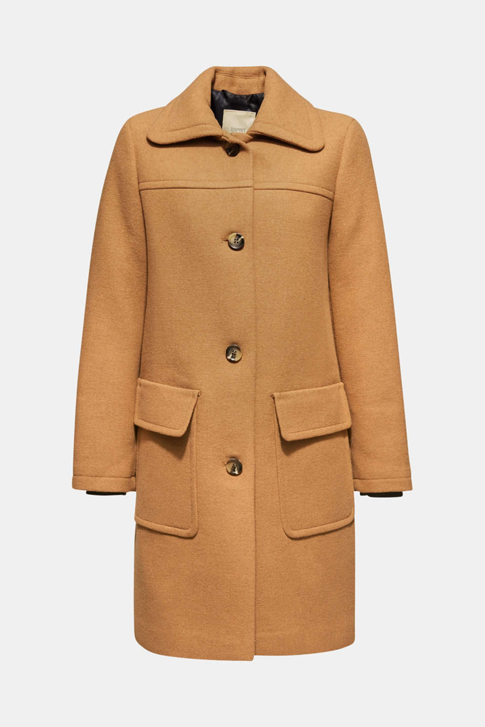 Wool blend: coat with a spade collar, CAMEL, detail image number 6