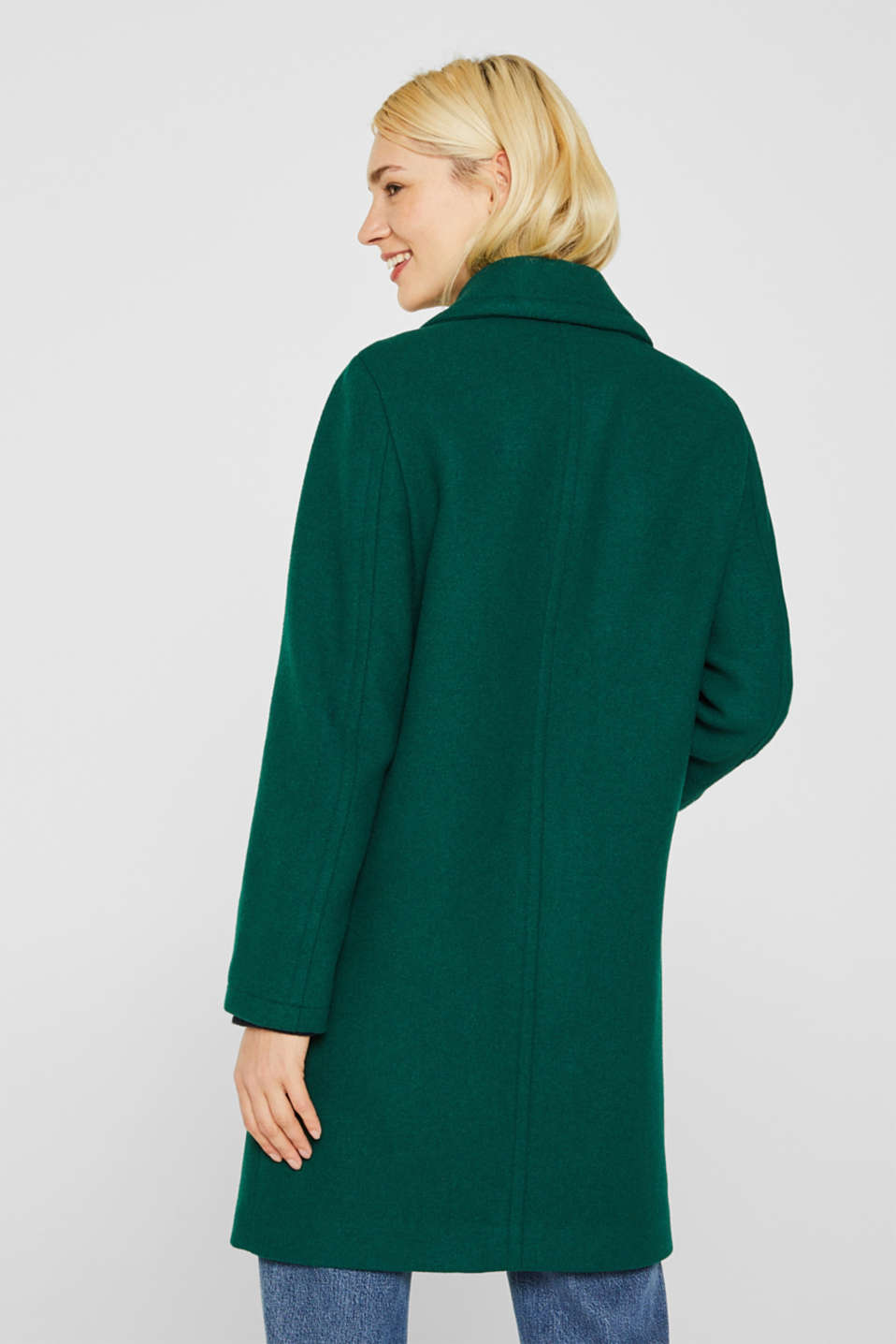 Wool blend: coat with a spade collar, BOTTLE GREEN, detail image number 3