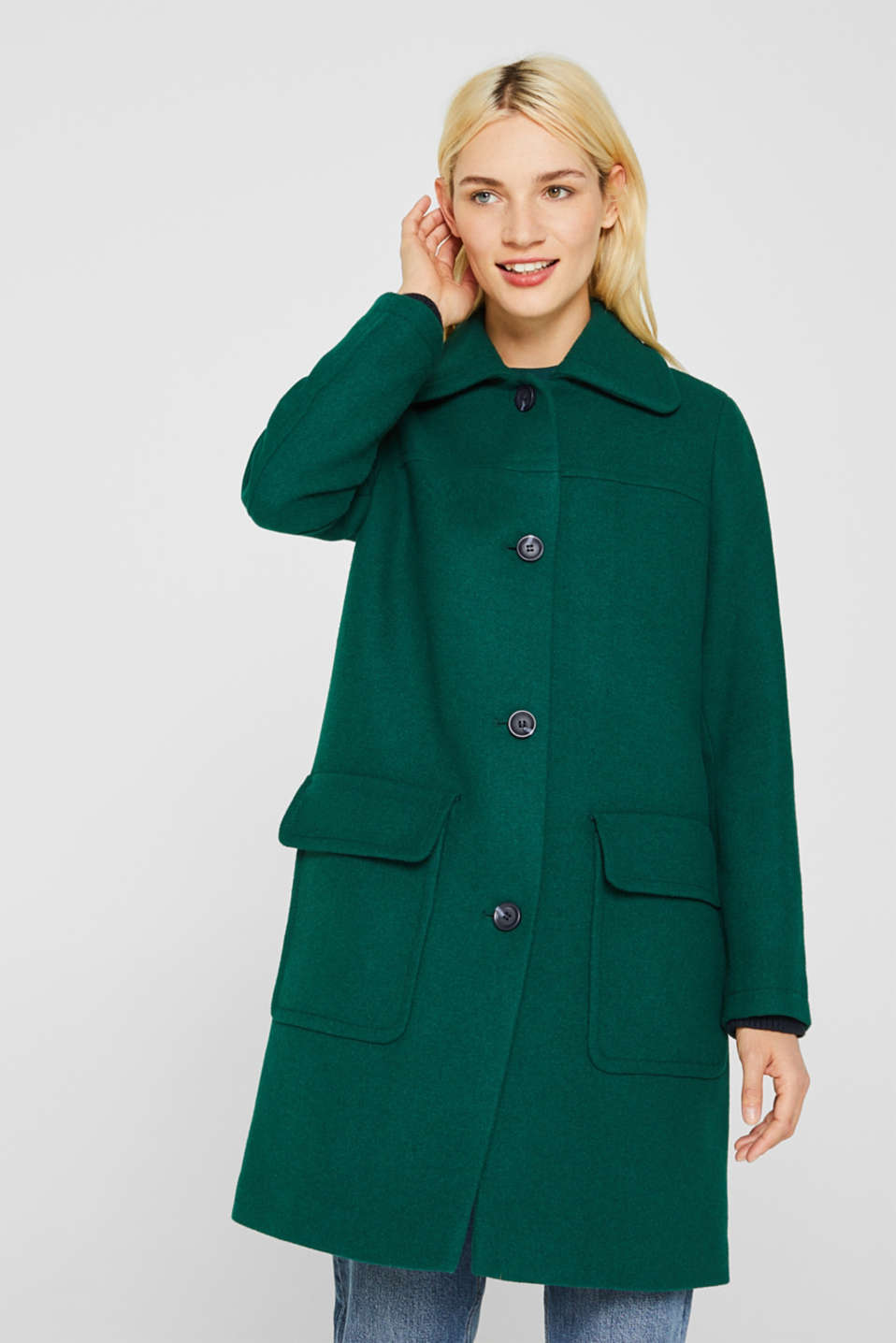Wool blend: coat with a spade collar, BOTTLE GREEN, detail image number 4