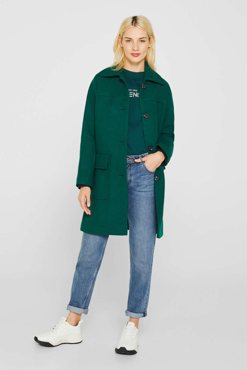 Wool blend: coat with a spade collar, BOTTLE GREEN, detail image number 1