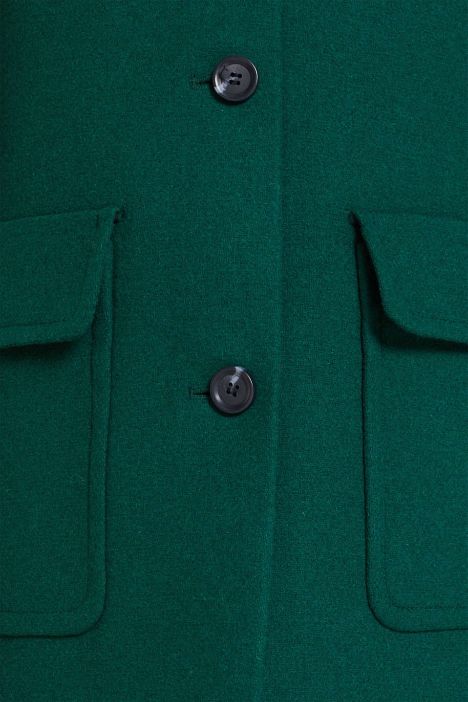 Wool blend: coat with a spade collar, BOTTLE GREEN, detail image number 2