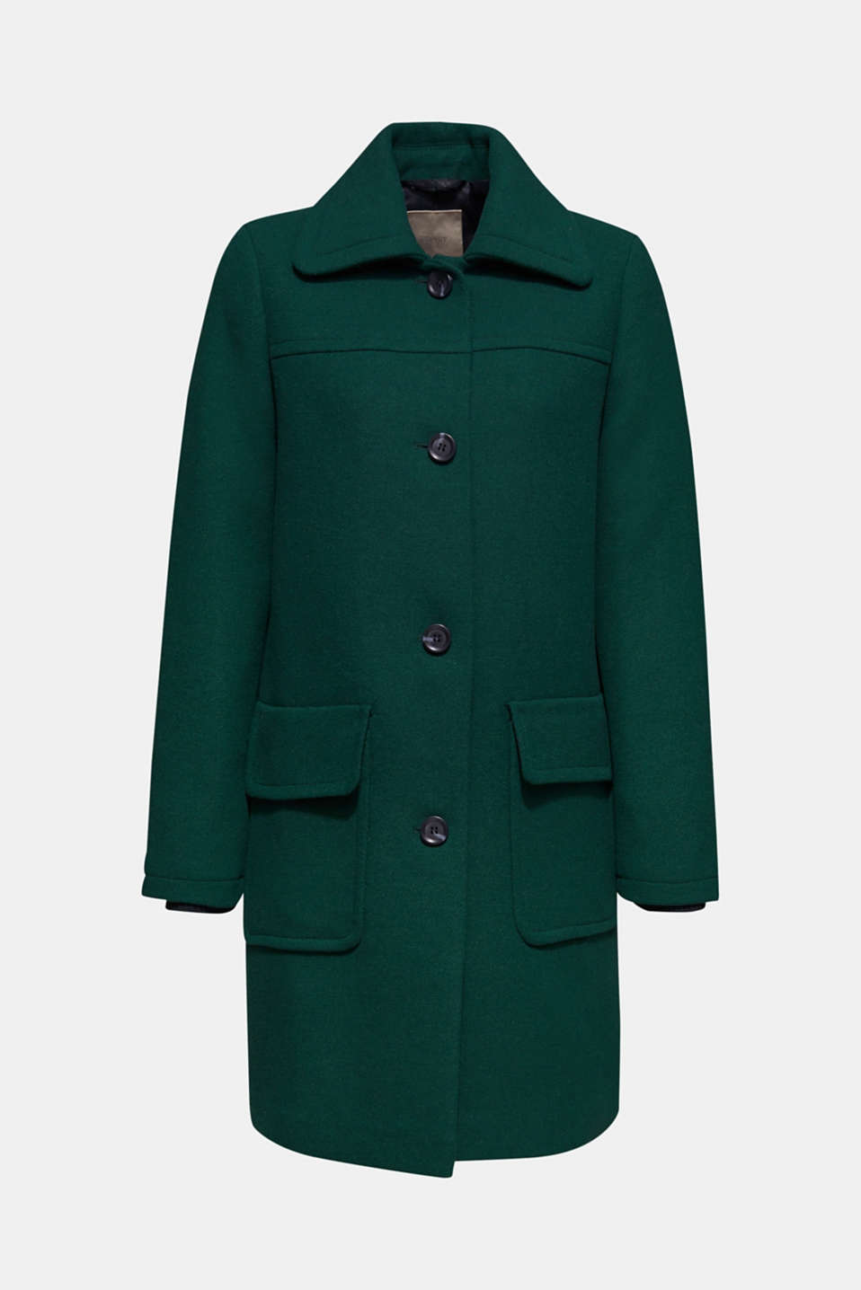 Wool blend: coat with a spade collar, BOTTLE GREEN, detail image number 6