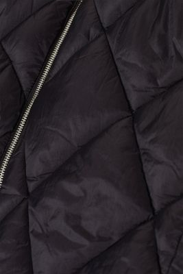 Padded quilted coat with a hood