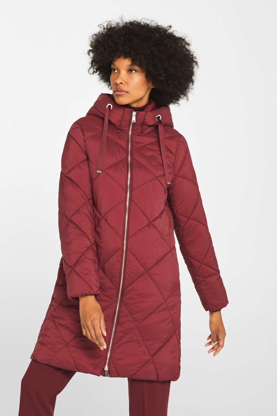 Padded quilted coat with a hood, BORDEAUX RED, detail image number 0