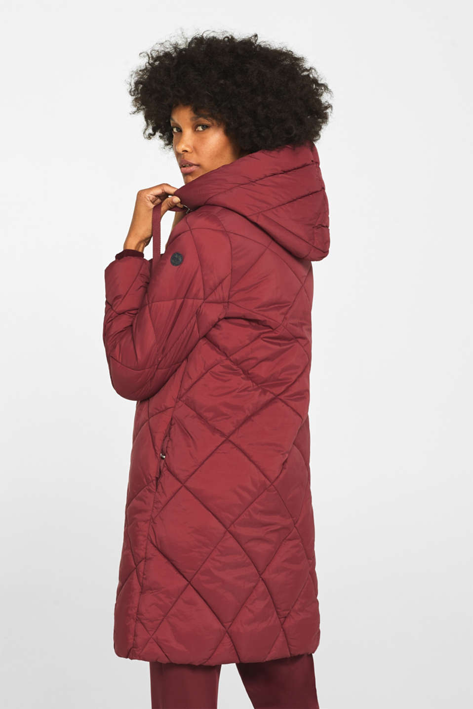 Padded quilted coat with a hood, BORDEAUX RED, detail image number 3