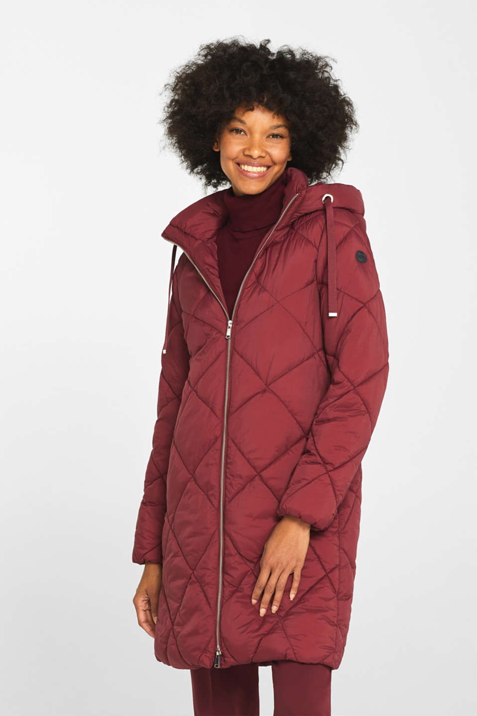 Padded quilted coat with a hood, BORDEAUX RED, detail image number 6