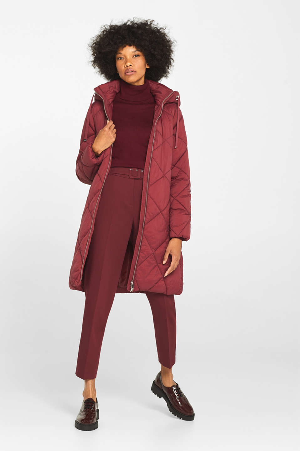 Padded quilted coat with a hood, BORDEAUX RED, detail image number 1