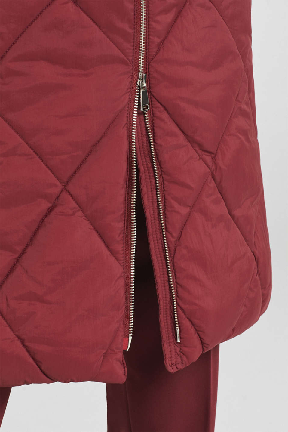 Padded quilted coat with a hood, BORDEAUX RED, detail image number 2