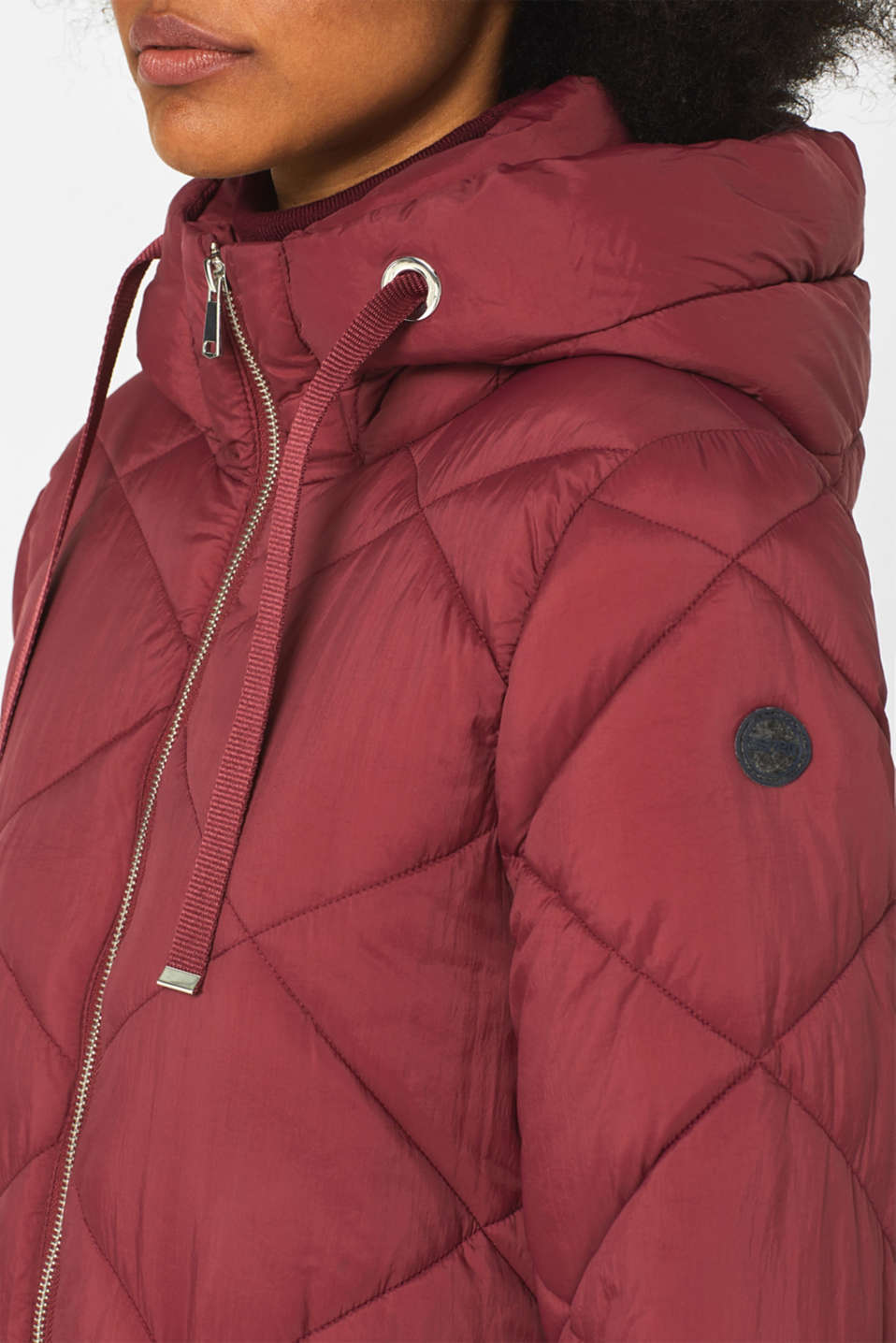 Padded quilted coat with a hood, BORDEAUX RED, detail image number 5