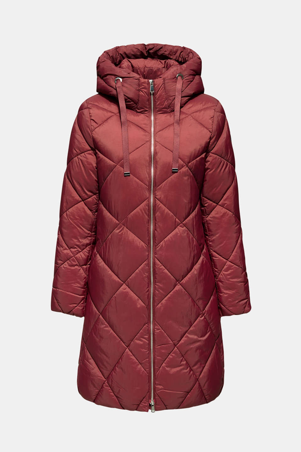 Padded quilted coat with a hood, BORDEAUX RED, detail image number 7