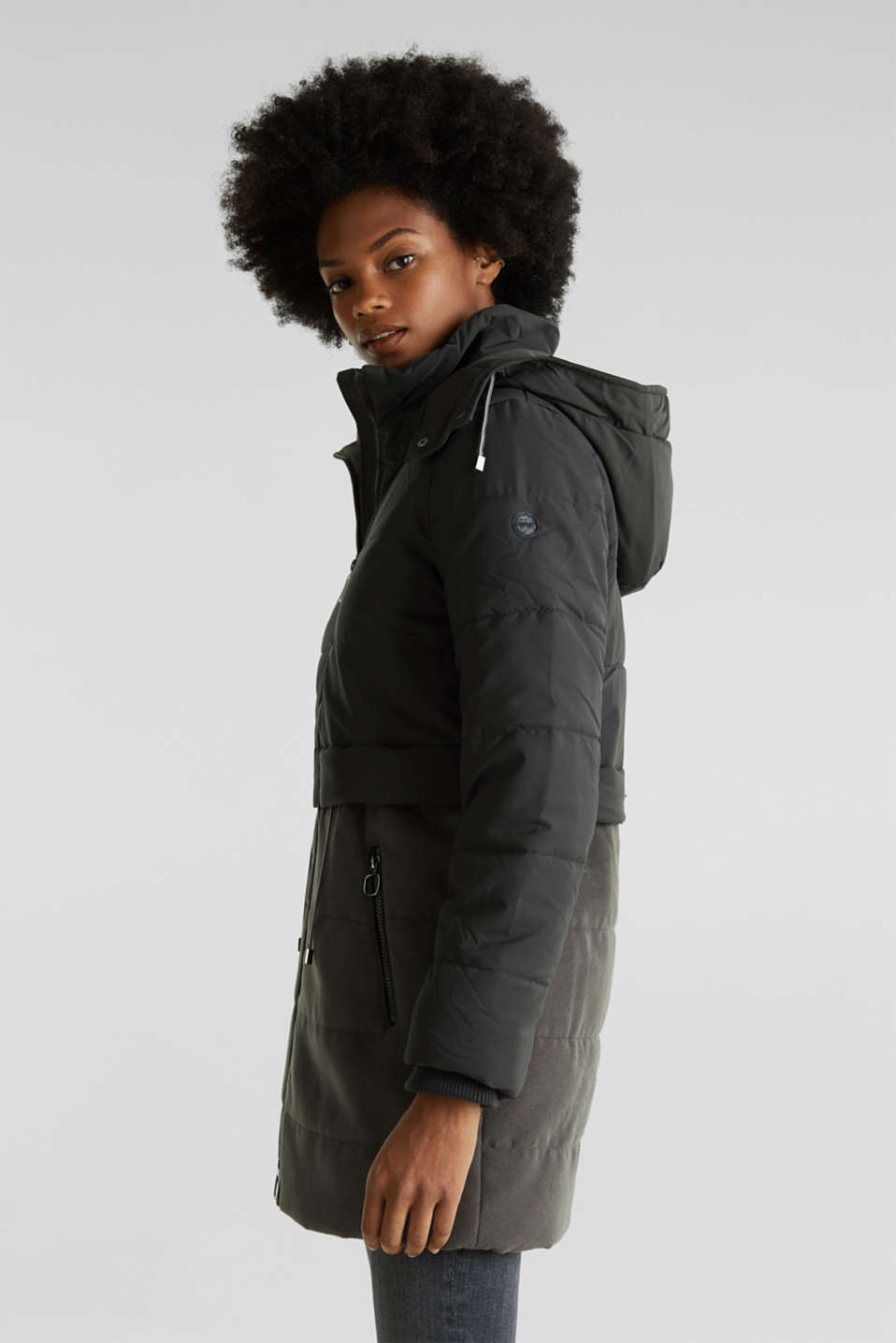Quilted jacket in a material mix, ANTHRACITE, detail image number 0