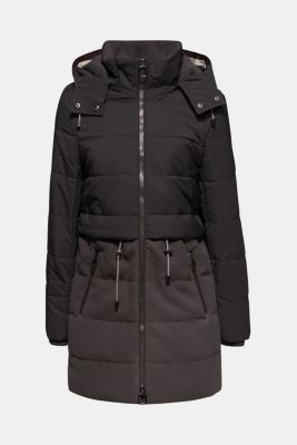 Quilted jacket in a material mix, ANTHRACITE, detail