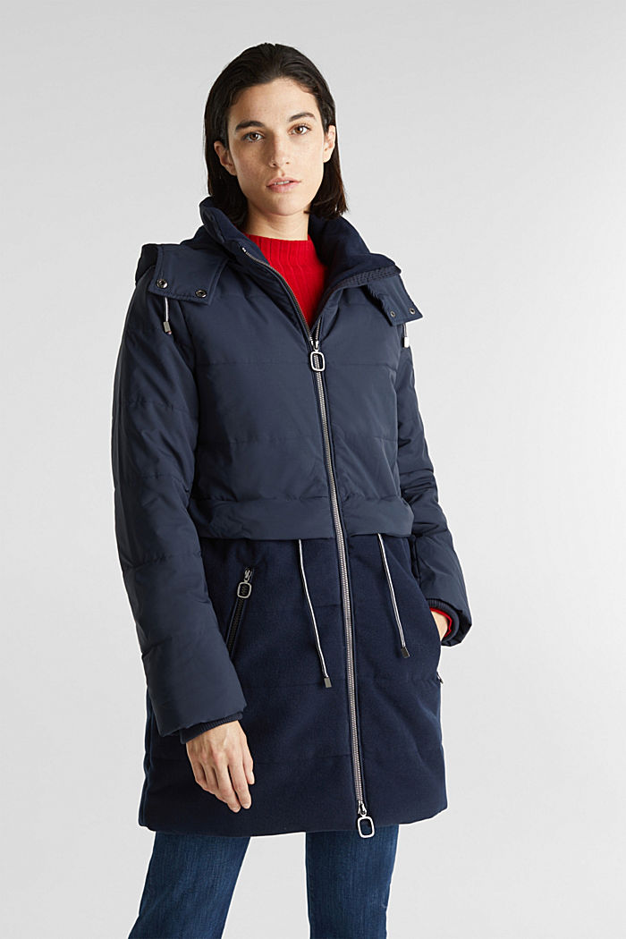 Stepp-Jacke im Material-Mix, NAVY, detail image number 0