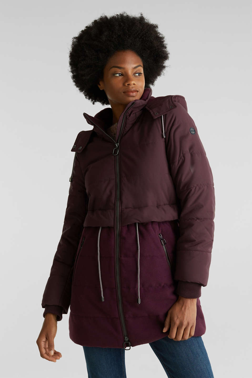 Quilted jacket in a material mix, BORDEAUX RED, detail image number 0
