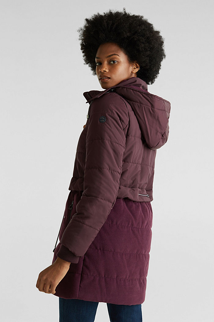 Quilted jacket in a material mix, BORDEAUX RED, detail image number 3