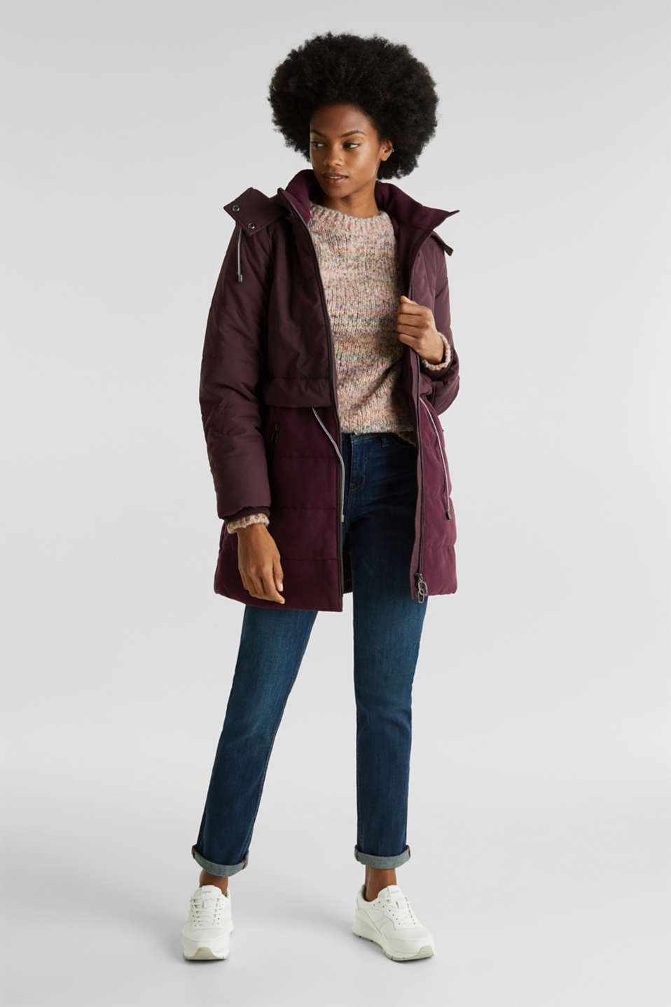 Quilted jacket in a material mix, BORDEAUX RED, detail image number 1