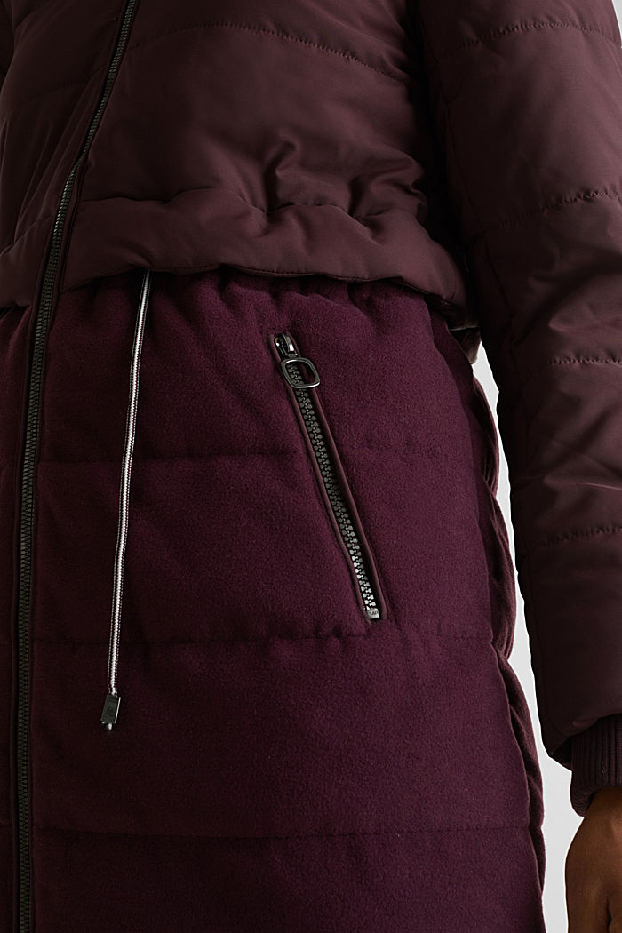Quilted jacket in a material mix, BORDEAUX RED, detail image number 2