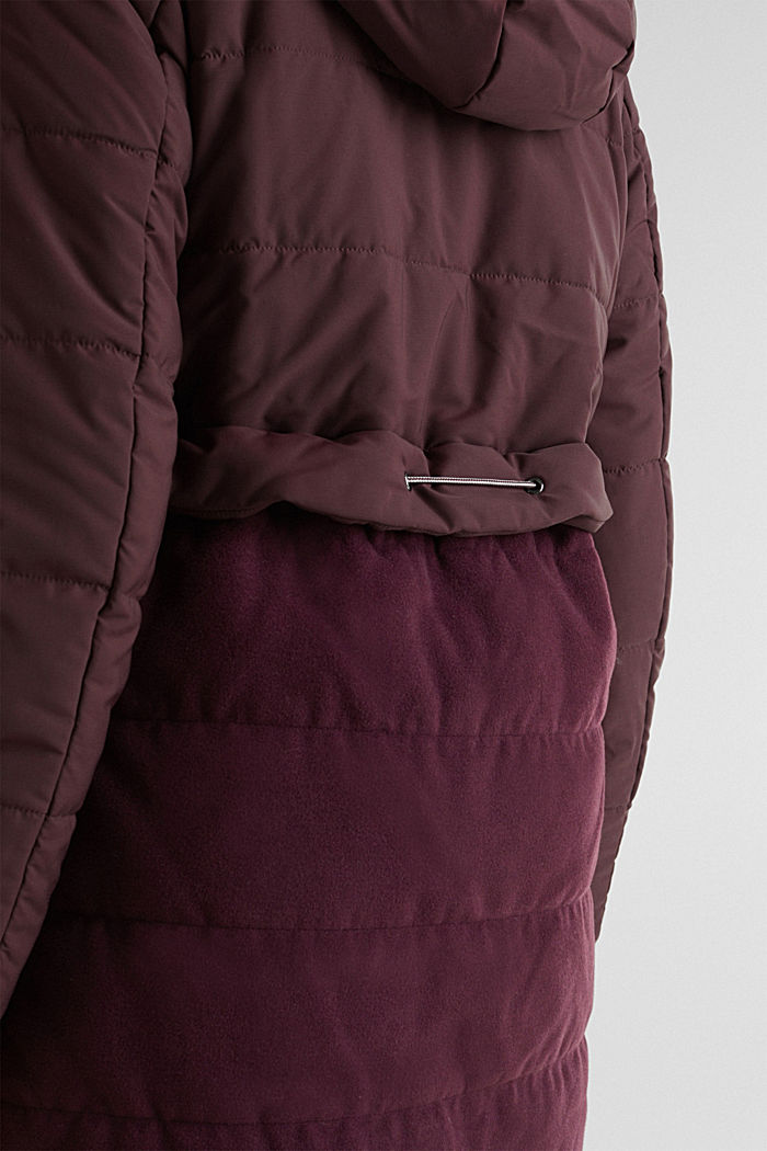 Quilted jacket in a material mix, BORDEAUX RED, detail image number 4