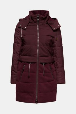 Quilted jacket in a material mix, BORDEAUX RED, detail