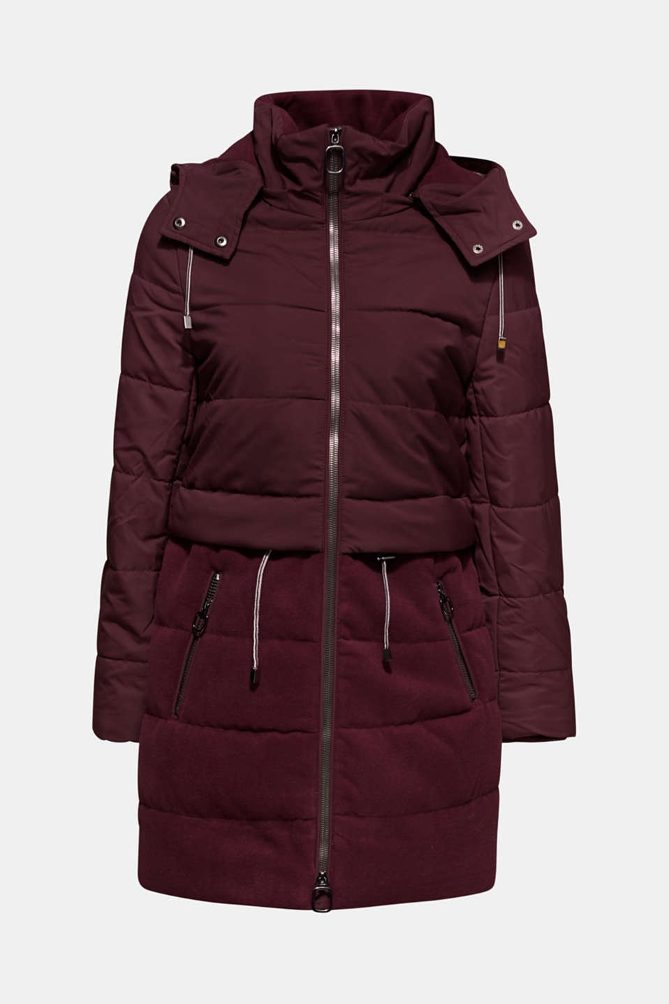 Quilted jacket in a material mix, BORDEAUX RED, detail image number 5