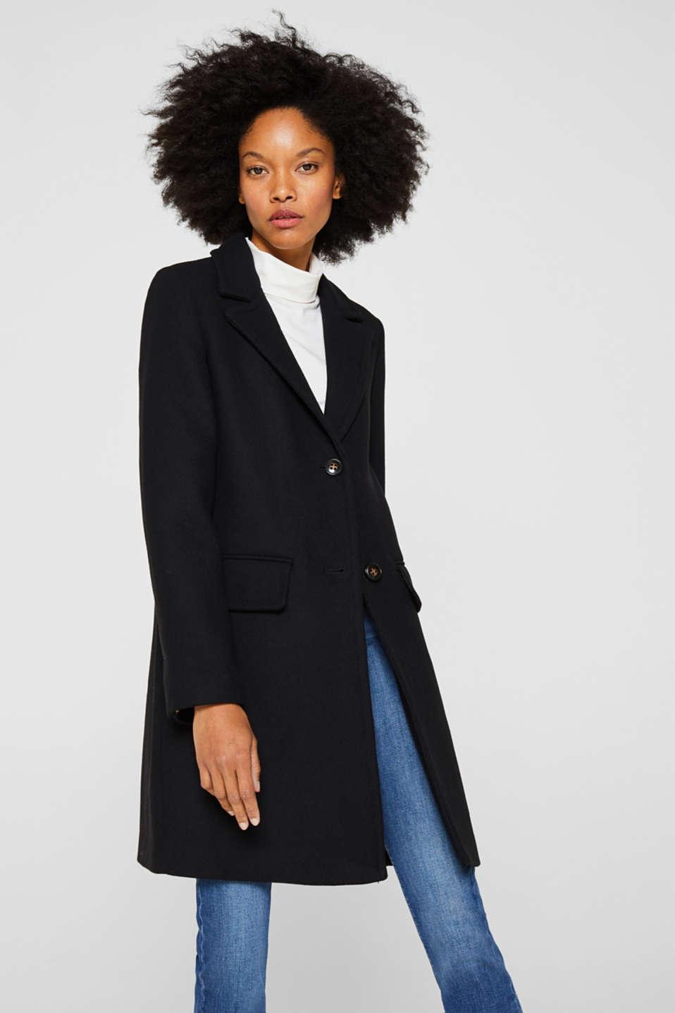 With wool: blazer coat, BLACK, detail image number 0